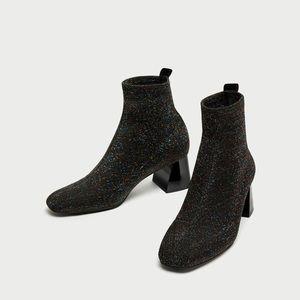 Zara Black Multicolor Sock Ankle Boots Heels Shoes